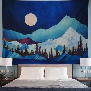 Abstract Watercolor Mountain Tapestry